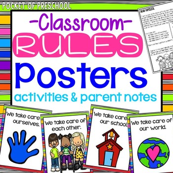 Bright, Colorful Classroom Rules for Preschool, Pre-K, and