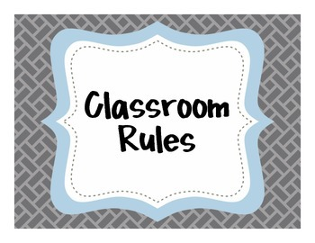 {Classroom Rules} Gray and Blue