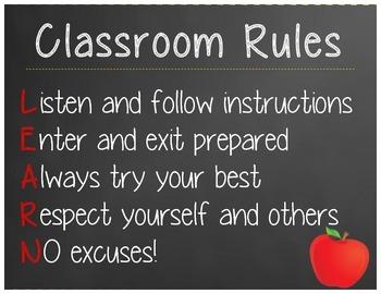 Classroom Rules (L.E.A.R.N.)