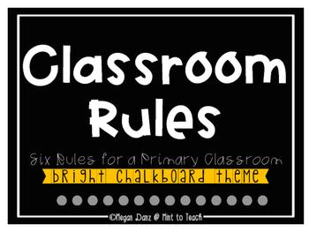 Classroom Rules Mini Posters - Bright Chalkboard