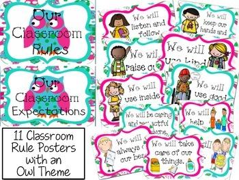 Classroom Rules - Owl Theme