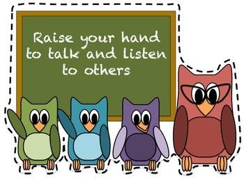 Classroom Rules Owl Themed