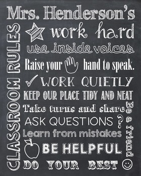 Classroom Rules Personalized Chalkboard Chalk It Up! Poste
