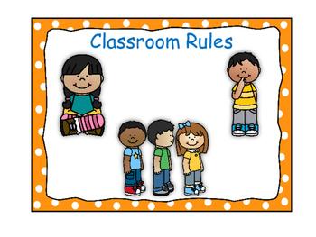 Classroom Rules-Polka Dot Theme (Orange)
