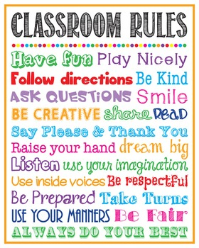 Classroom Rules Poster Sign Printable School Rules Teacher