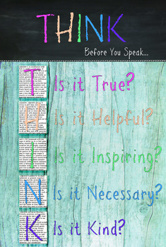 Classroom Rules Poster - Think - Before you speak - Colorful