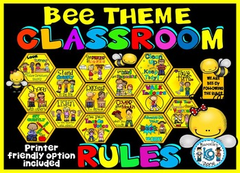 Classroom Rules Posters- BEE THEME VERSION- COLOR & LOW IN
