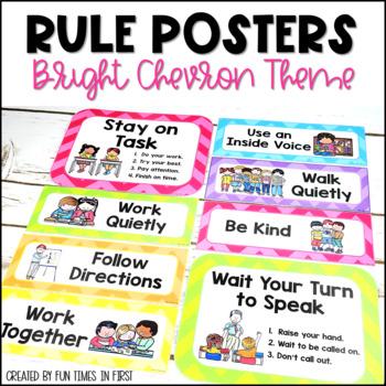 Classroom Rules Posters {Editable~Bright Chevron Theme}