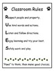 Classroom Rules Posters (paw print theme)