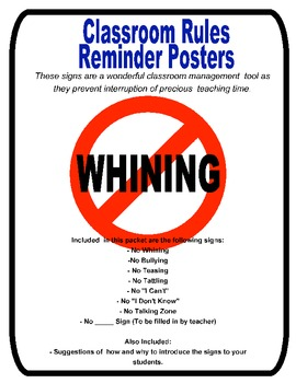 Classroom Management- Rules Reminder Posters (Signs)