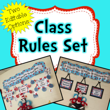 Classroom Rules Whimsical red and aqua - **Includes editab