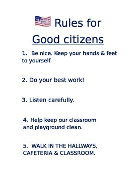 Classroom Rules for Good Citizens