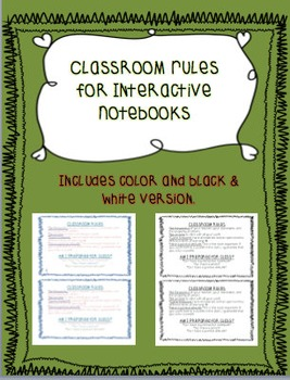 Classroom Rules for Interactive Notebooks