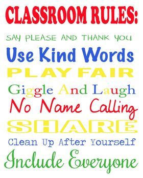 Classroom Rules poster, Primary Colors