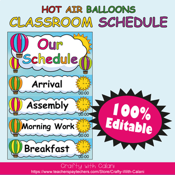 Classroom Schedule Cards with Editable Texts & Clocks in H
