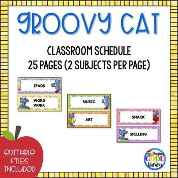 Classroom Schedule Cards  - Editable {Groovy Cat}