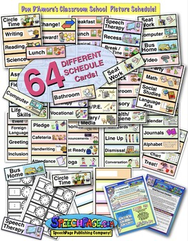 Classroom Picture & Word Schedule: 40 Colorful Illustrated