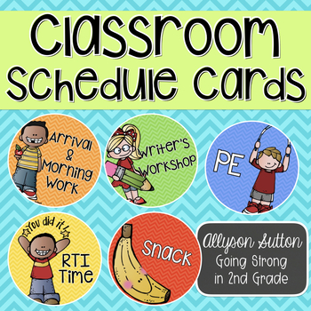 Classroom Schedule Circle Cards Bright Chevron