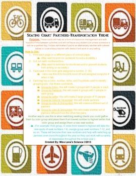 Classroom Seating Chart Partners- Transportation Theme