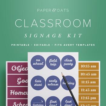 Classroom Signage Kit, Editable Decor and Labels, Bulletin