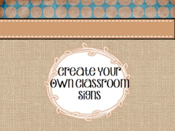 Classroom Signs ~Burlap and Blue