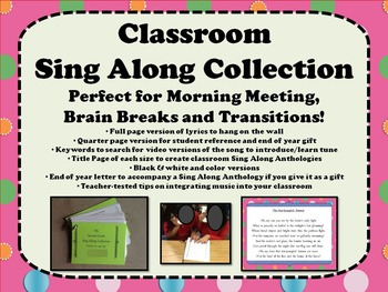 Classroom Sing Alongs: Songs for Morning Meeting, Brain Br