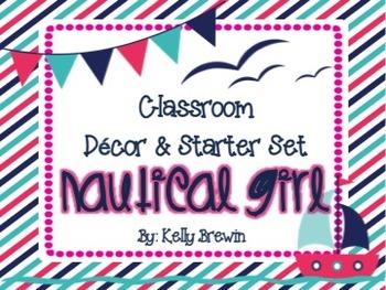 [EDITABLE] {NAUTICAL GIRL} Class Decor & Starter Set