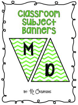 Classroom Subject Banners Green Chevron