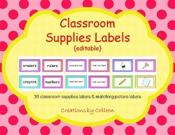 Classroom Supplies Labels in Polka Dots {editable}