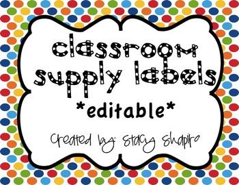 Classroom Supply Labels - Chevron {editable}