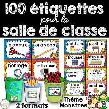 Classroom Supply Labels French - 100 étiquettes pour la cl