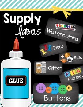 Classroom Supply Labels - Math Manipulative Tags - Chalkbo