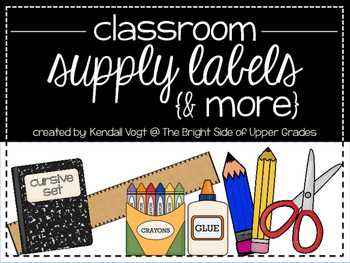 Classroom Supply Labels & More {Cursive Set}