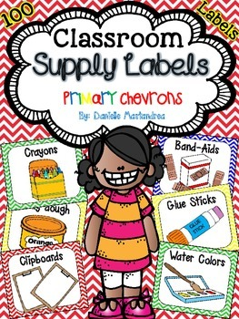 Classroom Supply Labels {Primary Chevron Theme}