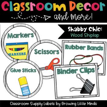 Classroom Supply Labels- Shabby Chic Rustic Shiplap Wood Decor