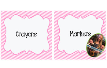 Pink Stripes Supply Labels and Table Numbers