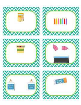 Classroom Supply Labels (unlabeled, editable) Seafoam and