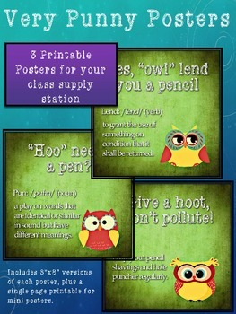 Classroom Supply Posters - Owl Puns