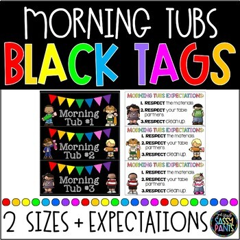 Morning Tubs Classroom Tags {BLACK}