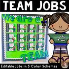 Classroom Team Jobs Bulletin Board: Editable Tasks (Blue, Pink, Green, Orange)