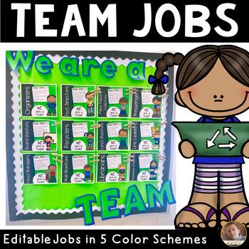 Classroom Team Jobs Bulletin Board:Editable Tasks-Green, R