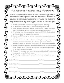 Classroom Technology Contract- Keep students accountable &