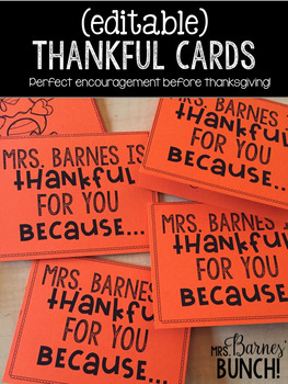 Classroom Thankful Cards- Perfect for Thanksgiving!