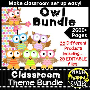 Classroom Decor Theme Bundle ~ Owl Theme