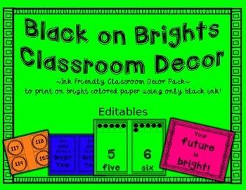 Classroom Theme Decor Ink Friendly Editables Sample
