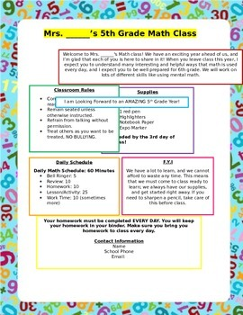 Classroom Welcome Flyer
