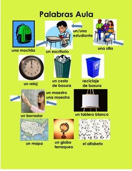 Classroom Words Poster Spanish