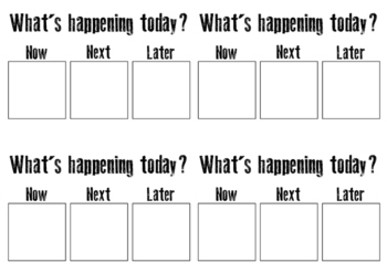 Classroom anxiety management visual schedule
