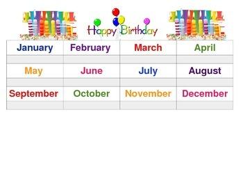 Classroom birthdays template