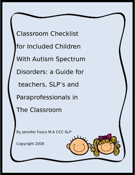 Classroom checklist for Included children with ASD